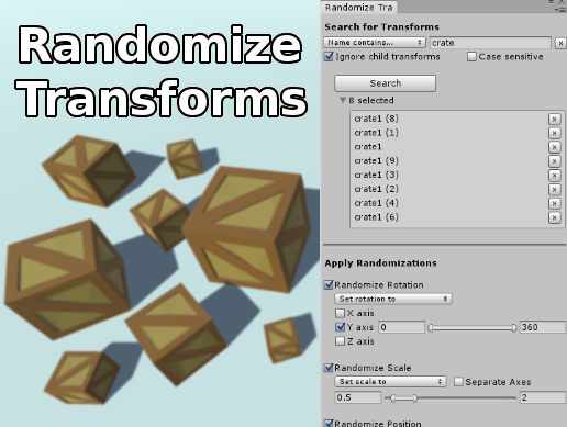 Randomize Transforms on the Unity Asset Store